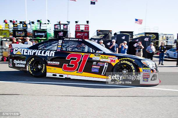 NASCAR Sprint Cup Series driver Ryan Newman driver of the Caterpillar Chevy makes the turn to head out of the garage towards the race track for...