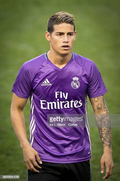 HARRISON NJ August 02 2016 International Champions Cup Real Madrid Midfielder James Rodríguez during the practice leading up to the International...