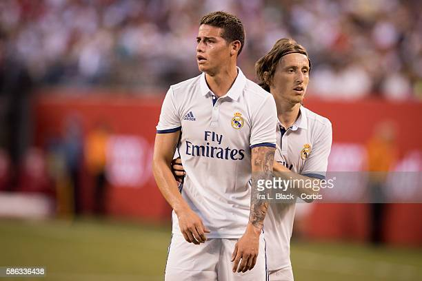 RUTHERFORD NJ August 03 2016 Real Madrid Midfielder James Rodríguez and Luka Modric during the International Champions Cup match between FC Bayern...