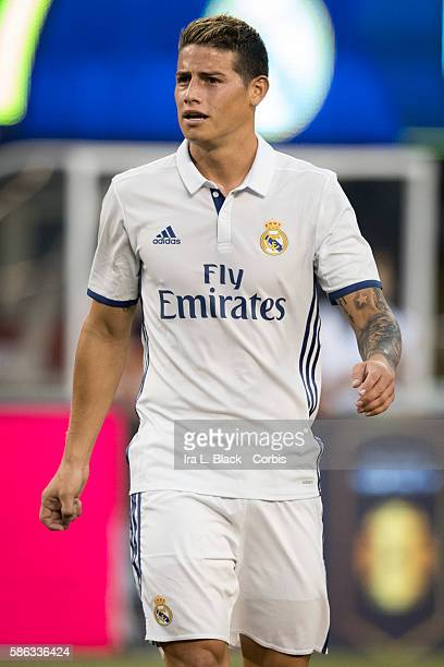 RUTHERFORD NJ August 03 2016 Real Madrid Midfielder James Rodríguez during the International Champions Cup match between FC Bayern Munich vs Real...