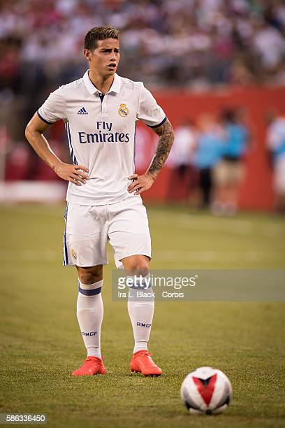 RUTHERFORD NJ August 03 2016 Real Madrid Midfielder James Rodríguez gets ready to take the penalty shot during the International Champions Cup match...