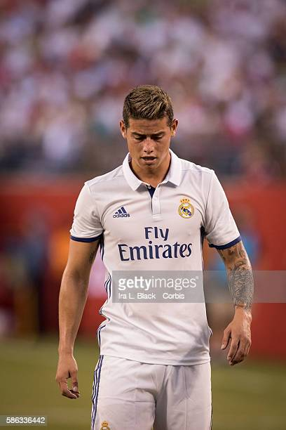 RUTHERFORD NJ August 03 2016 Real Madrid Midfielder James Rodríguez warms up during the International Champions Cup match between FC Bayern Munich vs...