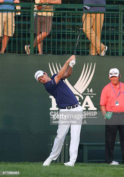 Justin Rose tees off during a practice round at the PGA Championship at Valhalla Golf Club in Louisville Ky