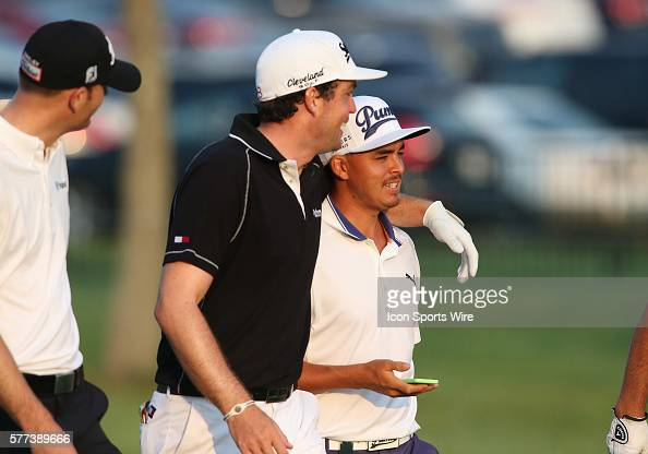 Keegan Bradley left and Rickie Fowler share a laugh during a practice round at the PGA Championship at Valhalla Golf Club in Louisville Ky