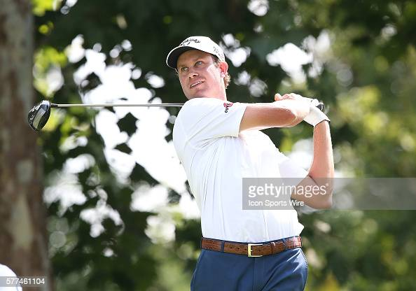 Harris English tees off during a practice round at the PGA Championship at Valhalla Golf Club in Louisville Ky