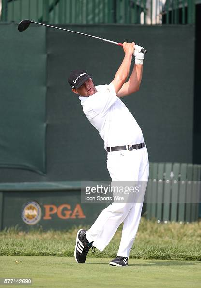 Michael Block tees off during a practice round at the PGA Championship at Valhalla Golf Club in Louisville Ky
