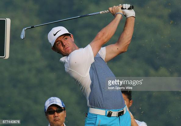 Rory McIlroy watches his shot during a practice round at the PGA Championship at Valhalla Golf Club in Louisville Ky