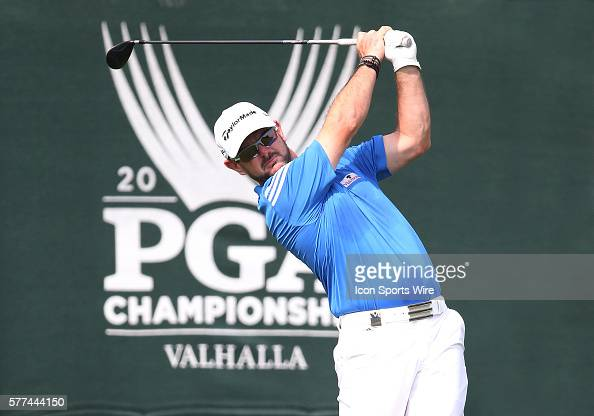 Rory Sabbatini tees off during a practice round at the PGA Championship at Valhalla Golf Club in Louisville Ky
