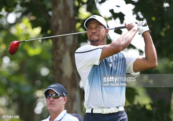Tiger Woods tees off during a practice round at the PGA Championship at Valhalla Golf Club in Louisville Ky