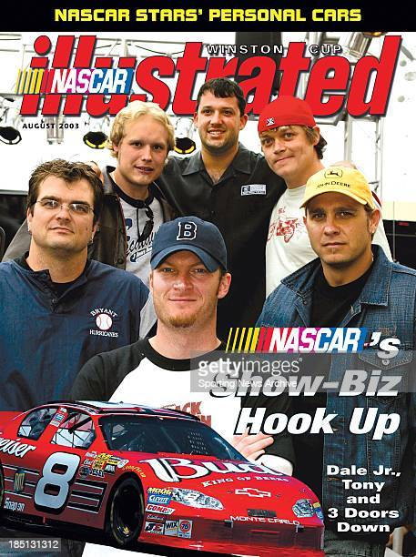 Dale Earnhardt Jr Tony Stewart and Three Doors Down band members Todd Harrell Chris Henderson Matt Roberts and Daniel Adair pose for a photo on...