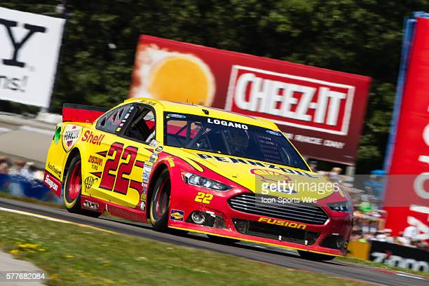 NASCAR Sprint Cup Series driver Joey Logano driver of the Shell Pennzoil Ford exits the bus stop during the Sprint Cup Series CheezIt 355 at the Glen...