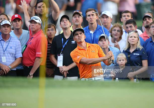 Rickie Fowler watches his ball in the final round of the PGA Championship at Valhalla Golf Club in Louisville Ky