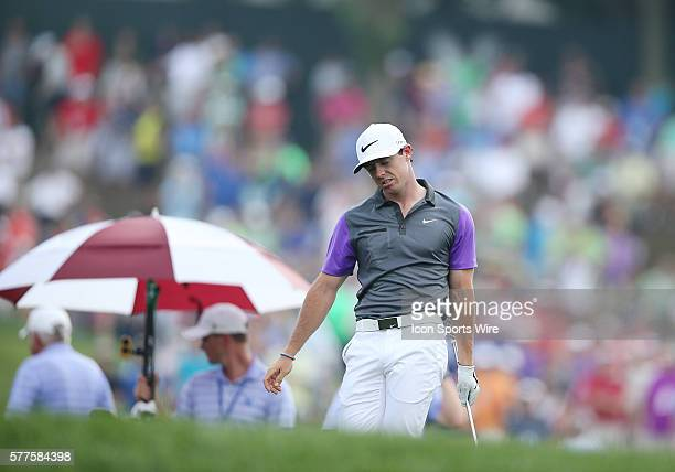 Rory McIlroy is not pleased with a shot during the fourth round of the PGA Championship at Valhalla Golf Club in Louisville Ky
