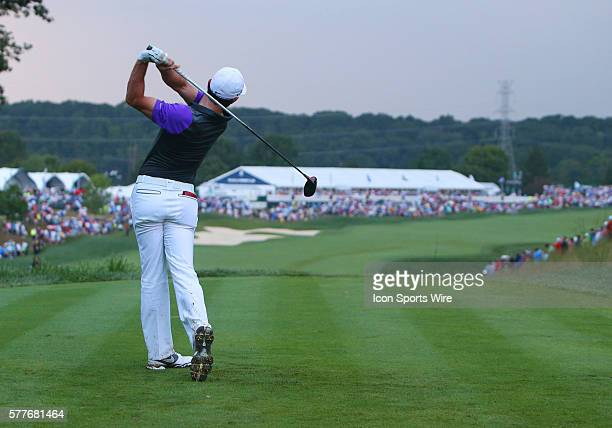 Rory McIlroy tees off on the 18th hole in the PGA Championship at Valhalla Golf Club in Louisville Ky
