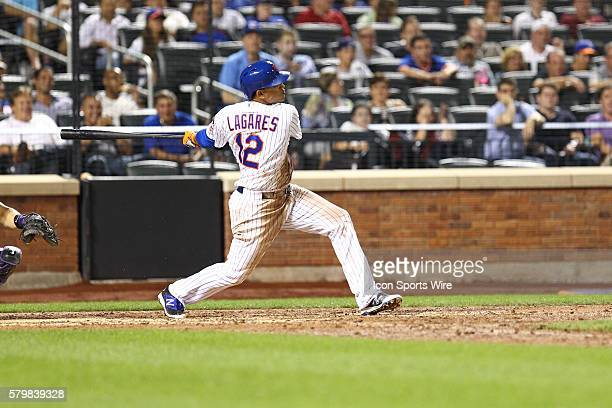 New York Mets Center field Juan Lagares [7887] doubles to left scoring D'Arnaud and Cuddyer putting the Mets up 40 during a MLB game between the...