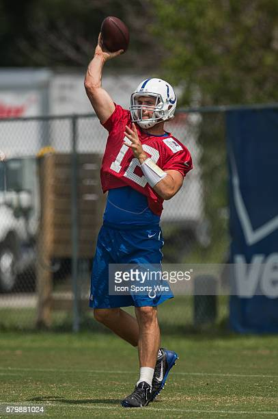 Indianapolis Colts quarterback Andrew Luck during the Indianapolis Colts training camp practice at Anderson University in Anderson IN