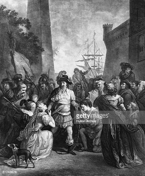 August 1500 Admirers kiss the hands of Christopher Columbus who is in chains after his dispute with a Royal Governor of Espanola Original Artwork...
