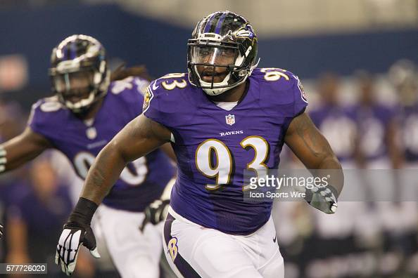 Baltimore Ravens defensive end DeAngelo Tyson during the NFL preseason football game between the Baltimore Ravens and the Dallas Cowboys at ATT...