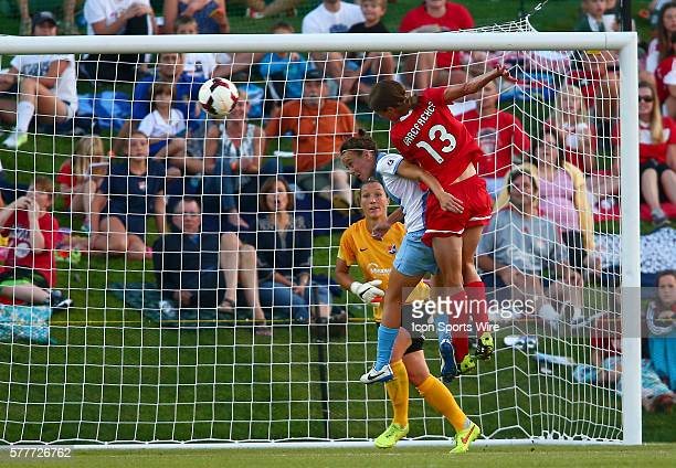 Kerstin Garefrekes of the Washington Spirit beats Nadia Nadim of Sky Blue FC to a high ball during a NWSL match at the Maryland Soccerplex in Boyds...