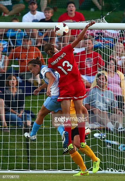 Kerstin Garefrekes of the Washington Spirit goes for a header with Nadia Nadim of Sky Blue FC during a NWSL match at the Maryland Soccerplex in Boyds...