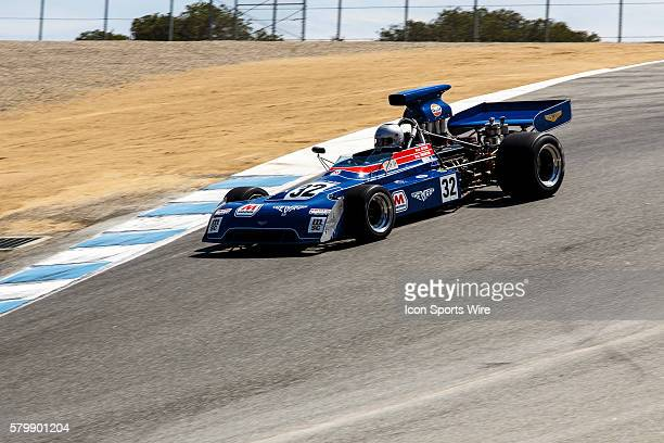 The 1973 Chevron B24 driven by Gregory Thornton from White Roding Essex United Kingdom at turn 8 competing in Group 7B during the Rolex Monterey...