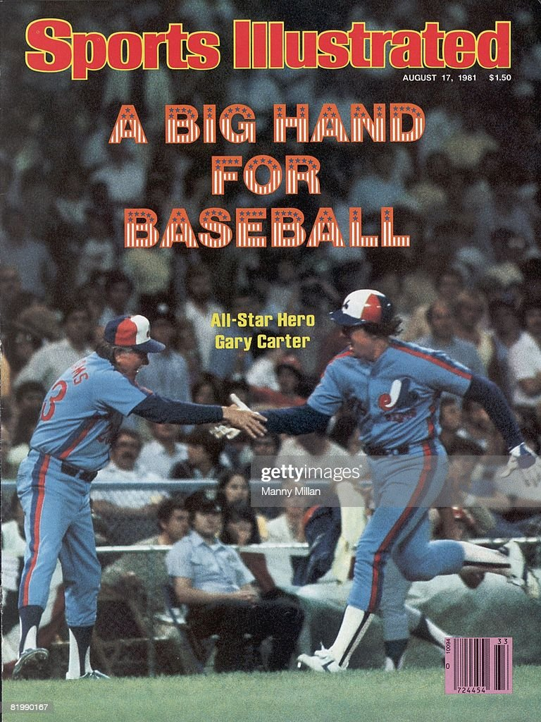 MLB All Star Game. Montreal Expos Gary Carter (8) victorious, high five with coach Dick Williams (23) after hitting home run during game vs American League. Cleveland, OH 8/9/1981