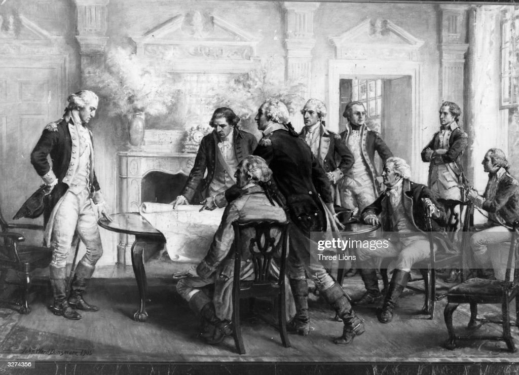 Council of War in the house of Mr Philip Livingstone in Brooklyn after the Battle of Long Island At that time George Washington's headquarters were...