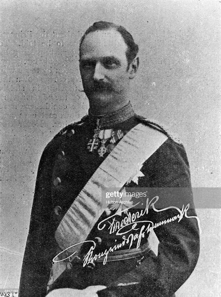 Frederick VIII (1843 - 1912), king of Denmark (as Crown Prince of Denmark) and his signature. He reigned from 1906 to 1912. Published in 'The Gentlewoman'