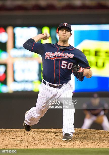 Minnesota Twins Pitcher Casey Fien [9006] delivers a pitch during the eighth inning against the Cleveland Indians at Target Field in Minneapolis MN