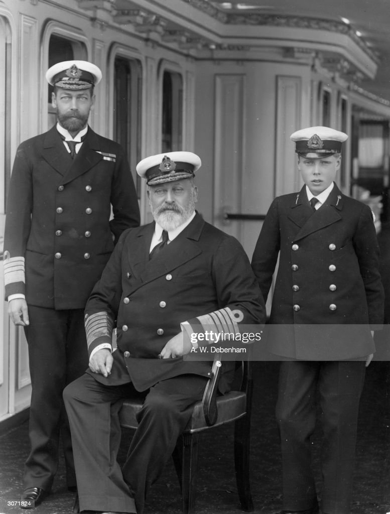 The Sailor Prince George V (1865 - 1936) with his father King Edward VII (1841 - 1910) and his son Prince Edward (1894 - 1972) in naval attire.