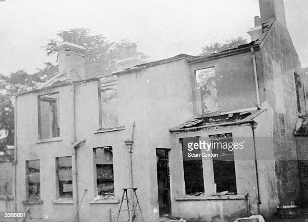 A gutted house in Lisburn County Down wrecked by Loyalist rioting during the Irish War of Independence