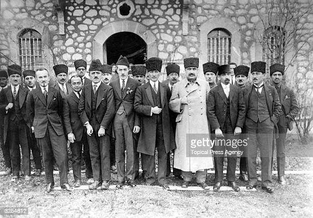 Mustafa Kemal Ataturk Turkish statesman and leader with the Turkish Diplomatic Corps at Ankara during the GreekTurkey war in 192122
