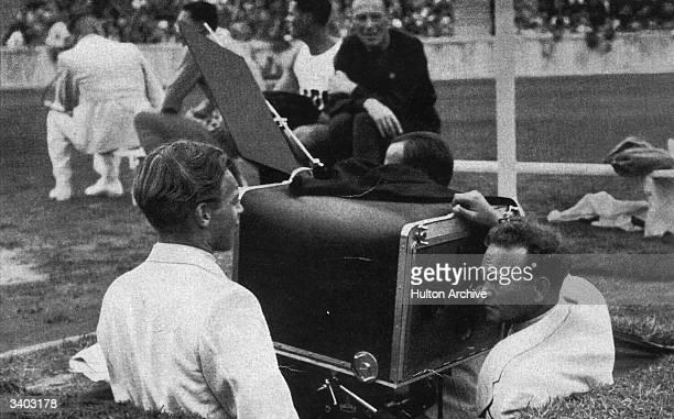 A camera crew filming the 1936 Berlin Olympics