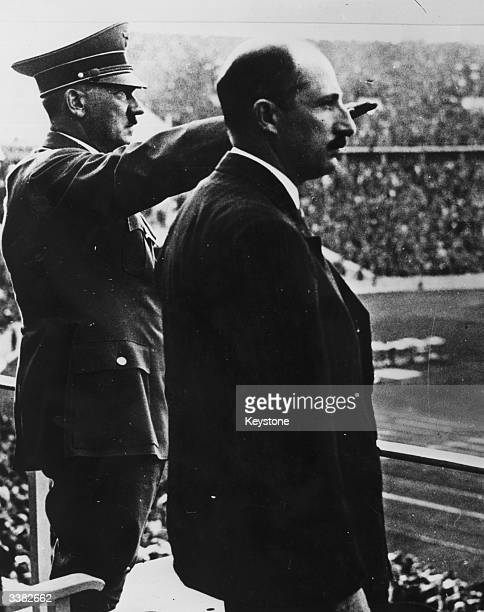 Adolf Hitler and King Boris III of Bulgaria at the 1936 Olympic Games which were held in Berlin