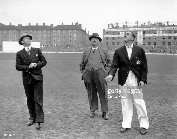 Don Bradman of Australia and English cricketer Wally Hammond watching the 'tossup' before a test match at the Oval 'Bosser' Martin the legendary...