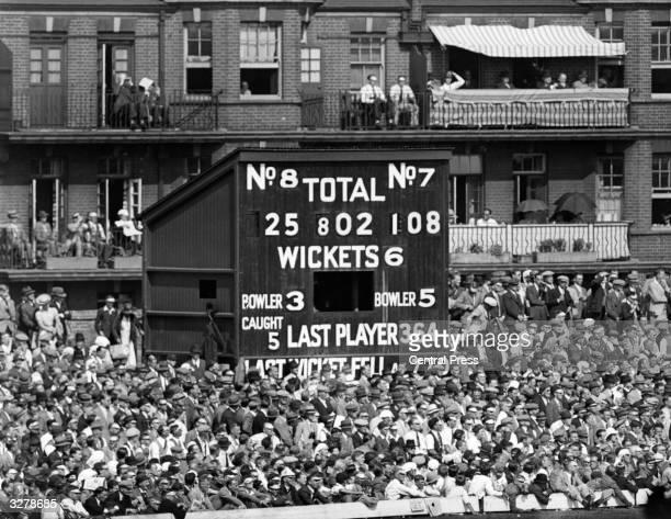 The score board at the Oval during the 5th Test Match between England and Australia with a record score of 802 runs
