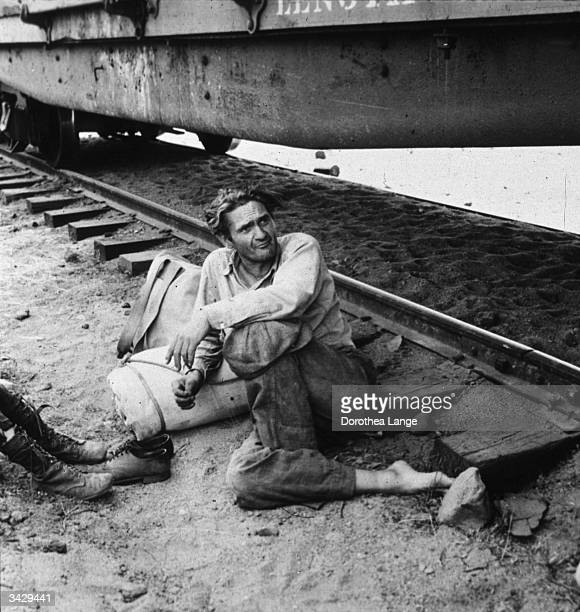 A hobo whose family have travelled with him on the freights at Toppenish Yakima Valley Washington