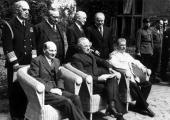 At the Potsdam Conference are British foreign minister Ernest Bevin Mr Byrnes and the Russian politician Vyacheslav Mikhailovich Molotov In the front...