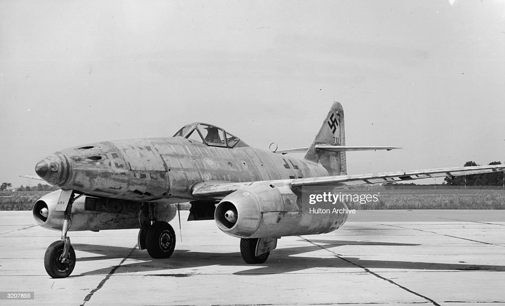 The German Messerschmitt 262A-I, one of the earliest jet aircraft, sits on the runway at Wright Field, Ohio, the first of its type to be brought to the United States. First built in 1941, the jet-propelled fighter hit top speeds of 530 mph, over 100 mph faster than conventional Allied fighters in World War II. It carried four 30-mm canons in its nose, had a 41-foot wing span, and was 35.5 feet long.