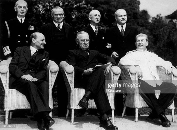 The new 'Big Three' at the Potsdam Conference after Attlee succeeded Churchill as British Prime Minister LR seated Clement Attlee Harry S Truman and...