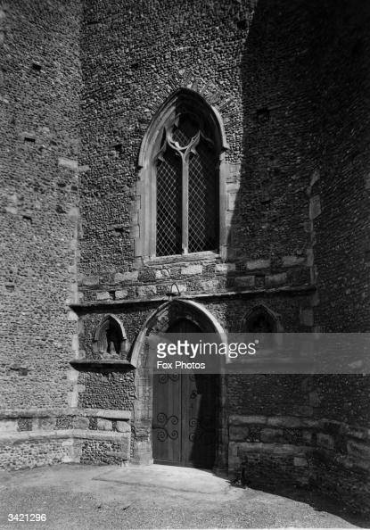Old Door in the Early English style circa 13th century Danbury Church in Essex south east England