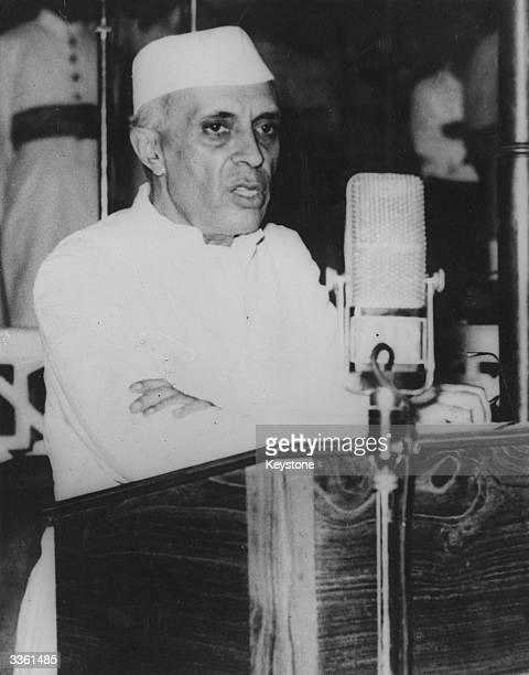 Indian nationalist leader Jawaharlal Nehru on the occasion of his becoming premier of the new Union of India asking members of the Constituent...
