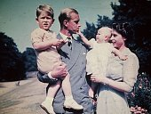 Princess Elizabeth with her husband Prince Philip Duke of Edinburgh and their children Prince Charles and Princess Anne