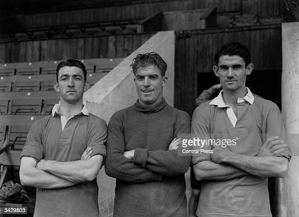Sam Bartram the Charlton Athletic goalkeeper with two of his teammates Eddie Firmani and John Hewie