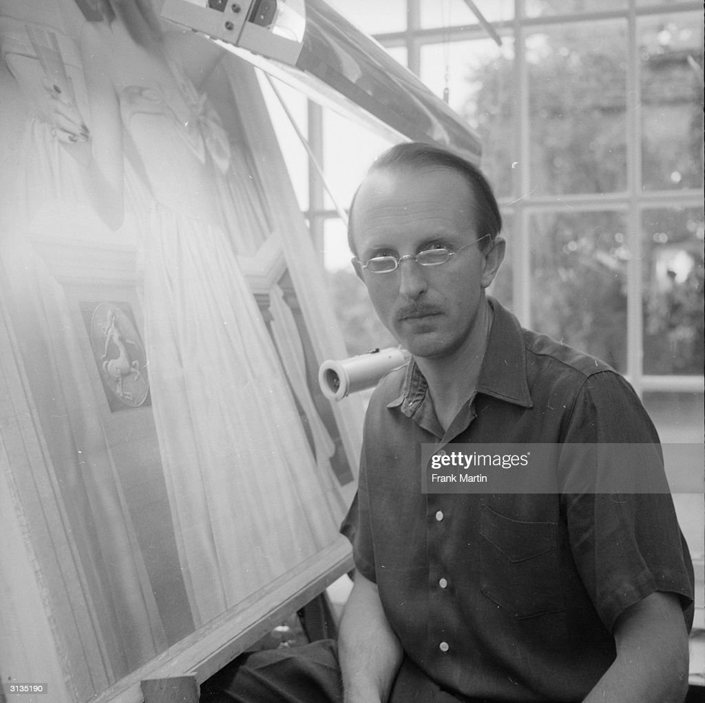 British society painter Colonel John Merton in his studio in Wiltshire.