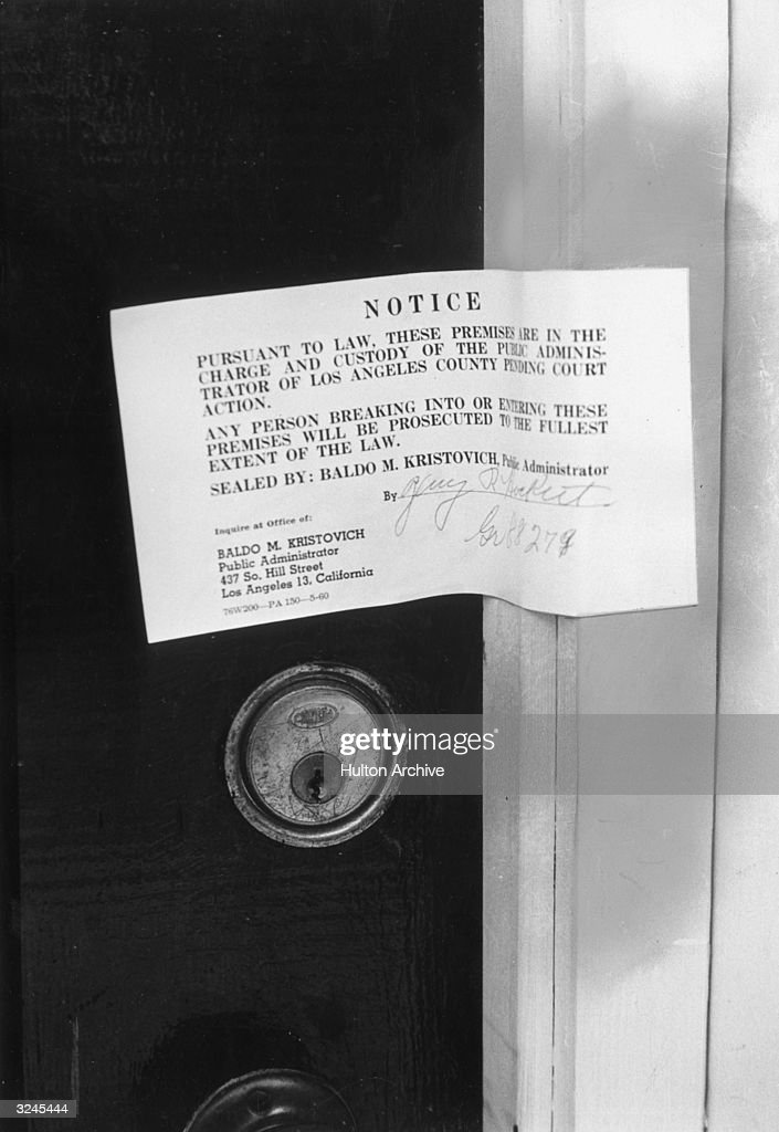 The police warning notice posted on American actor Marilyn Monroe's front door after her death, Los Angeles, California.
