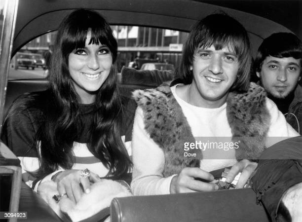 American singers Cher and Sonny Bono on a visit to London