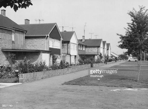 Homes on the Devon Park estate in Bedford England all with television aerials