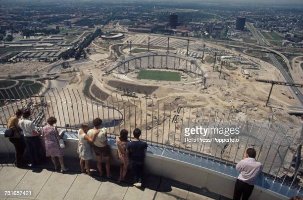 August 1971 view from the Olympiaturm or Olympic Tower of the Munich Olympic Park with the Olympic Stadium Olympic Swim Hall and Olympiahalle all...