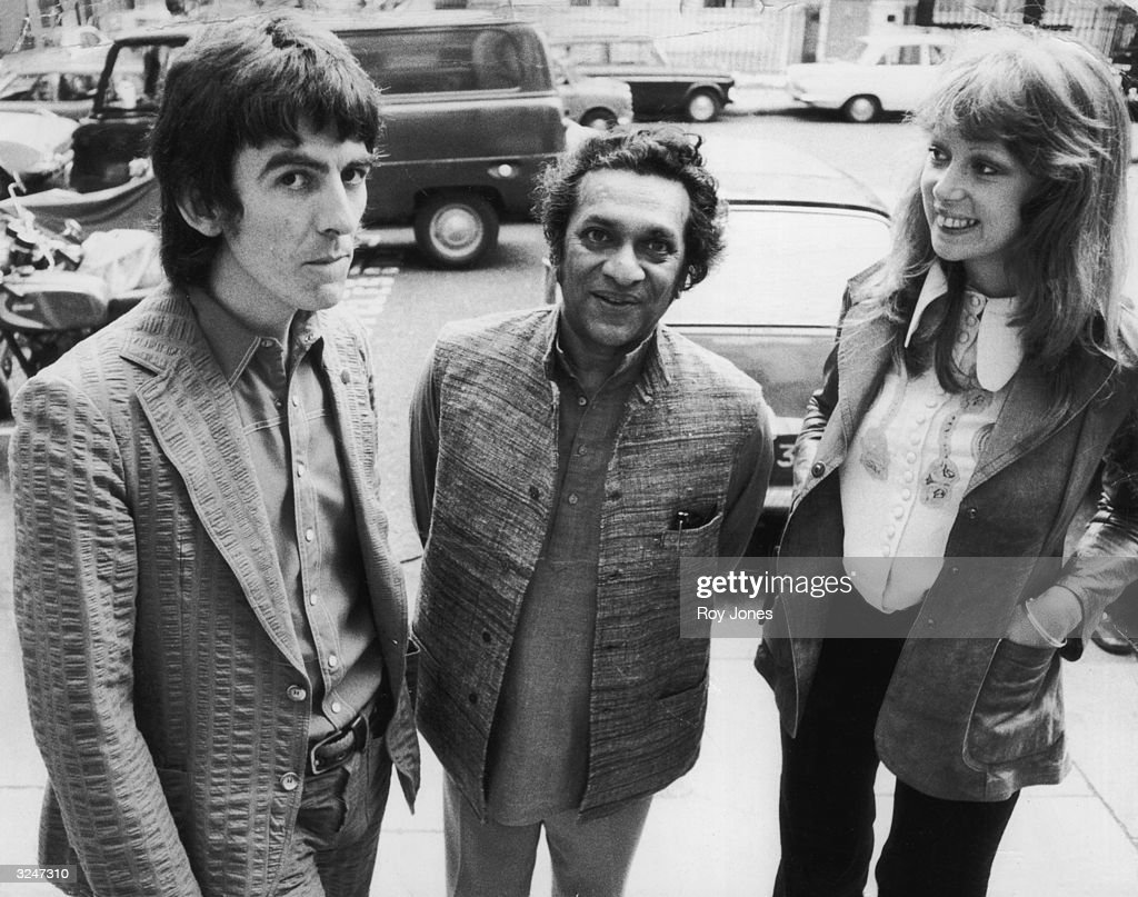 Former Beatle <a gi-track='captionPersonalityLinkClicked' href=/galleries/search?phrase=George+Harrison&family=editorial&specificpeople=90945 ng-click='$event.stopPropagation()'>George Harrison</a> (1943 - 2001) with his wife, model Patti Boyd and sitar player Ravi Shankar (centre).